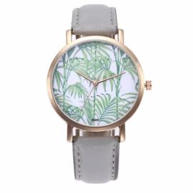 Horloge palmblad grijs