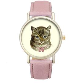 Horloge nostalgische kat roze