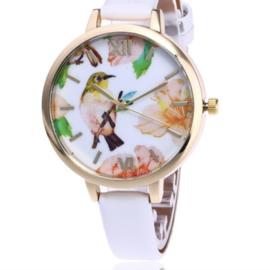 Horloge bird wit