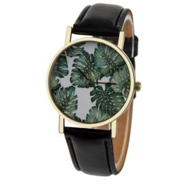Horloge Monstera gatenplant zwart