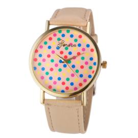 Horloge confetti beige