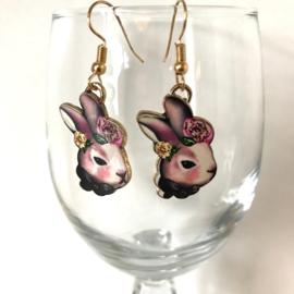 Oorbellen konijn met bloemen