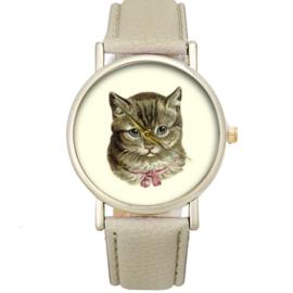 Horloge nostalgische kat beige