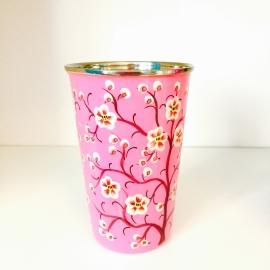 Beker/vaasje roze bloesemtak