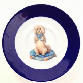 Blauw schoteltje vintage hondje