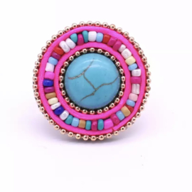 Ibiza ring roze multicolor