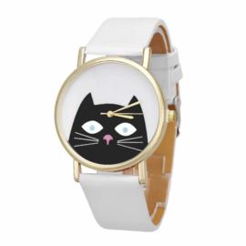 Horloge kat wit