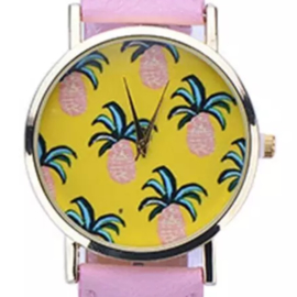 Horloge ananas roze