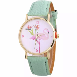 Horloge flamingo groen