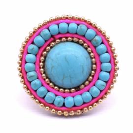 Ibiza ring roze turquoise