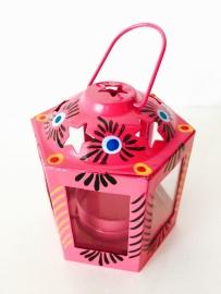 Lantaarntje handbeschilderd roze