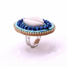 Ring ibiza schelp blauw