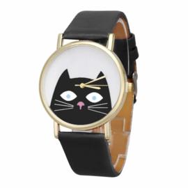 Horloge kat zwart
