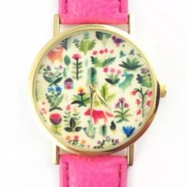 Horloge botanisch roze