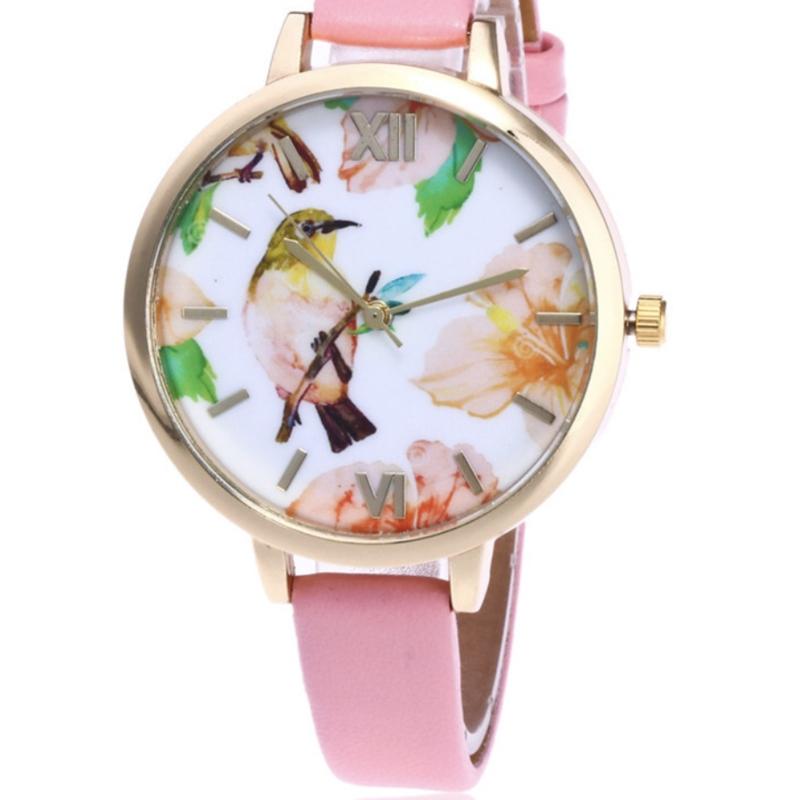Horloge bird roze