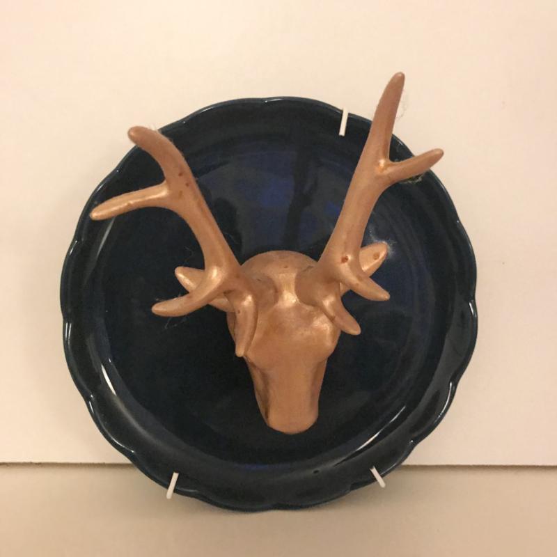 3 d bordje donkerblauw hertje