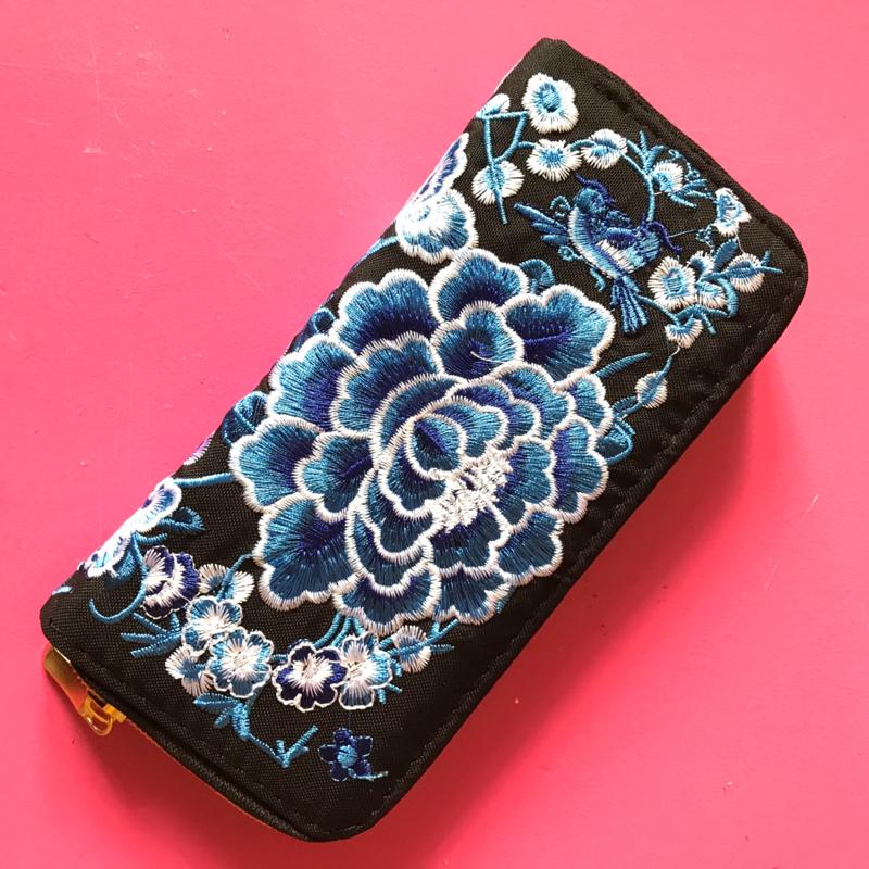 Portemonnee zwart blauwe bloem