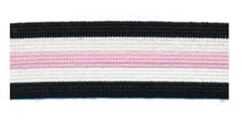 Broekstreep Zwart-Wit-Roze - 25mm