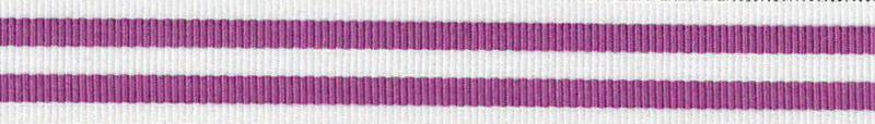 Ripsband Stripe Paars-Wit - 15mm