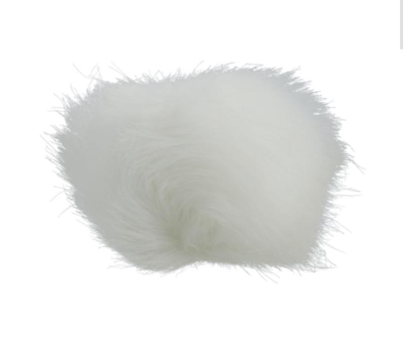 Fluffy pompon Wit