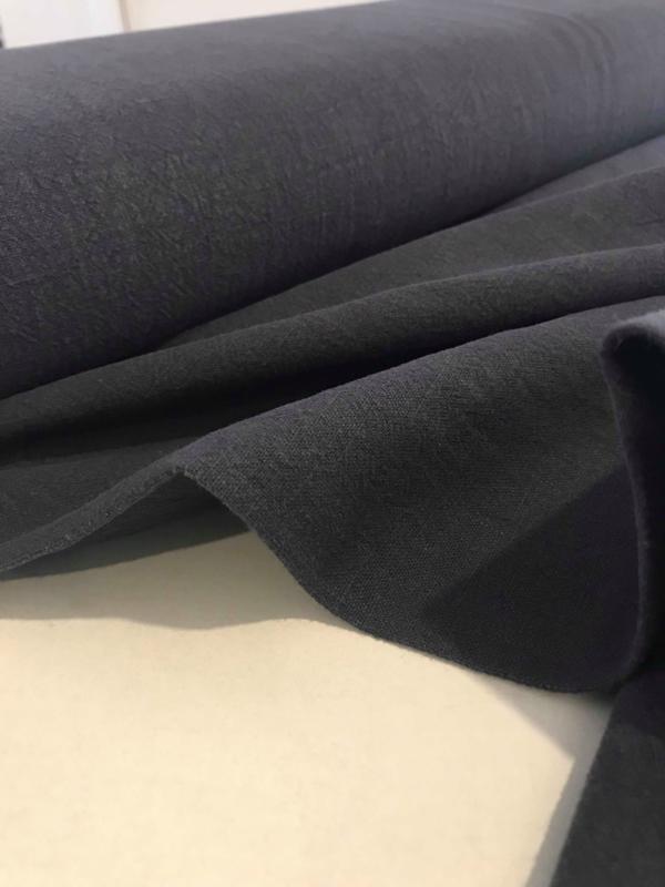 Ramie - biowashed linnen look - marineblauw