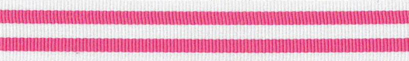 Ripsband Stripe Fuchsia-Wit - 15mm