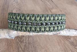Paracord Halsband  Pip Groen met kralen