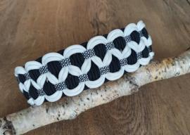Paracord Halsband  Luna Zwart / Wit