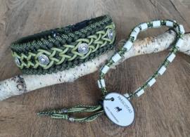 Paracord Halsband Bo en Tekenband Set Groen met kralen