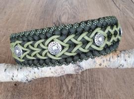 Paracord Halsband Bo Groen met kralen
