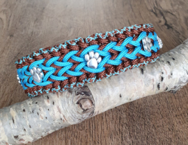 Paracord Halsband  Bo  Turquoise / Chocolate Brown