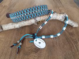 Paracord Halsband  Pip en Tekenband Set Turquoise / Chocolate Brown