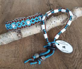 Paracord Halsband  Bo en Tekenband Set Turquoise / Chocolate Brown
