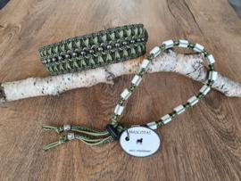 Paracord Halsband  Pip en Tekenband Set Groen met kralen