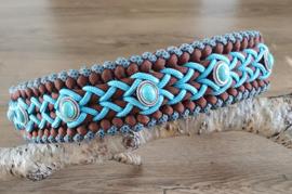 Paracord Halsband Bo Turquoise / Chocolate Brown met kralen