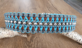 Paracord Halsband Pip  Turquoise / Chocolate Brown met kralen