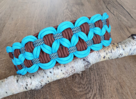 Paracord Halsband Luna Turquoise / Chocolate Brown