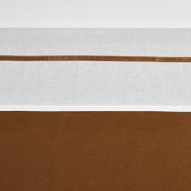Meyco ledikant lakentje off white met velvet bies | CAMEL