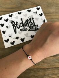 Bedankt allerbeste juf kaart met verstelbare hartjes armband
