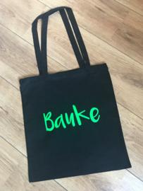 Zwarte katoenen tas met naam
