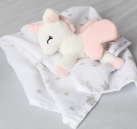 Metoo swaddle met unicorn | Wit met roze