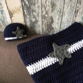Complete newborn set donkerblauw met ster