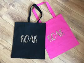 ROAR | katoenen tas zwart met panterprint