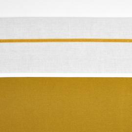 Meyco ledikant lakentje off white met velvet bies | OKERGEEL