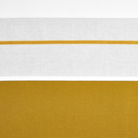 Meyco wieg lakentje off white met velvet bies | OKERGEEL