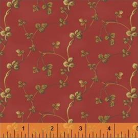 Blaadjes bruin op rood (helder)
