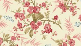 LSH_Ecru met kersenbloesemtak roze/rood