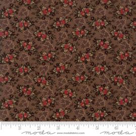 Harriet's - Donker bruin met bloemtoefjes in taupe en rood