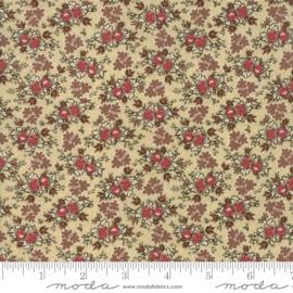 Harriet's - Ecru met bloemtoefjes in rood en taupe