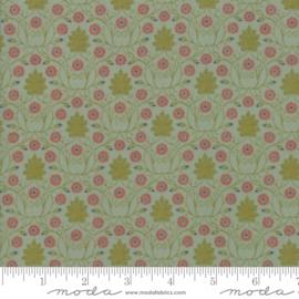 William Morris _  Groen/blauw met rood/roze bloemetje